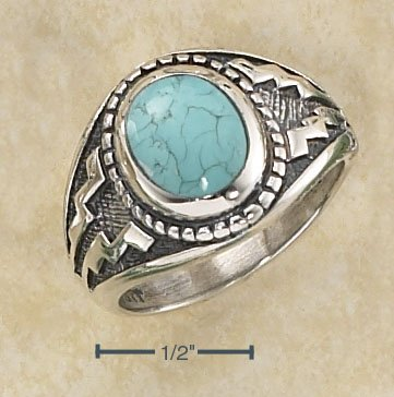Sterling Silver Mens Turquoise Aztec design ring size 13