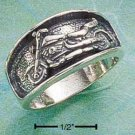 Sterling Silver Antiqued Motorcycle Ring Size 8
