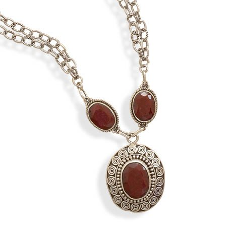 SPECTACULAR STERLING SILVER and RUBY NECKLACE