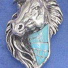 Fantastic Sterling Silver Horse Head Pendant with Turquoise inlay