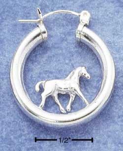 Pretty Sterling Silver Horses Hoop earrings