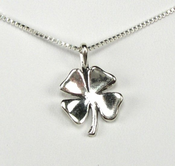 Lucky Sterling Silver Four Leaf clover Pendant/Necklace with 18 inch Chain
