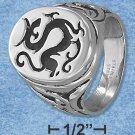 Mens Stainless Steel Dragon Signet Ring size 9