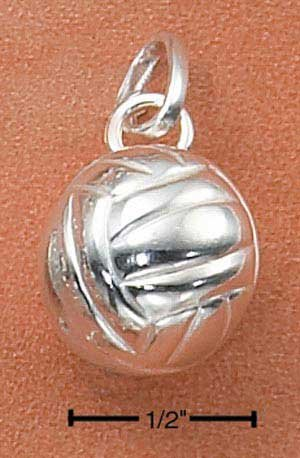 Sterling Silver three dimensional Volleyball Charm