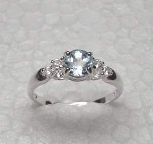 Sterling silver ring with BLUE and  WHITE TOPAZ stones size 8