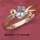 PRETTY 18 KT GOLD VERMEIL COCKTAIL RING with a BLUE TOPAZ size 6