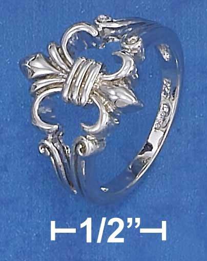 Sterling Silver Fancy Fleur de Lis Ring Size 7