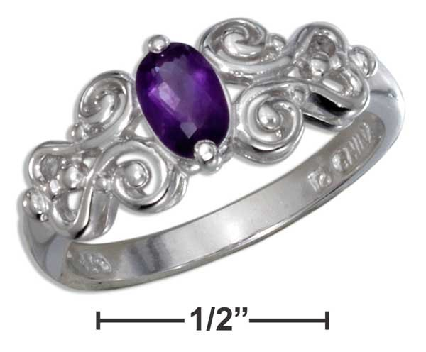 Sterling Silver ring with a genuine Amethyst stone and a gorgeous scrolled band size 6