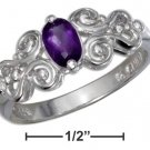Sterling Silver ring with a genuine Amethyst stone scrolled band size 6