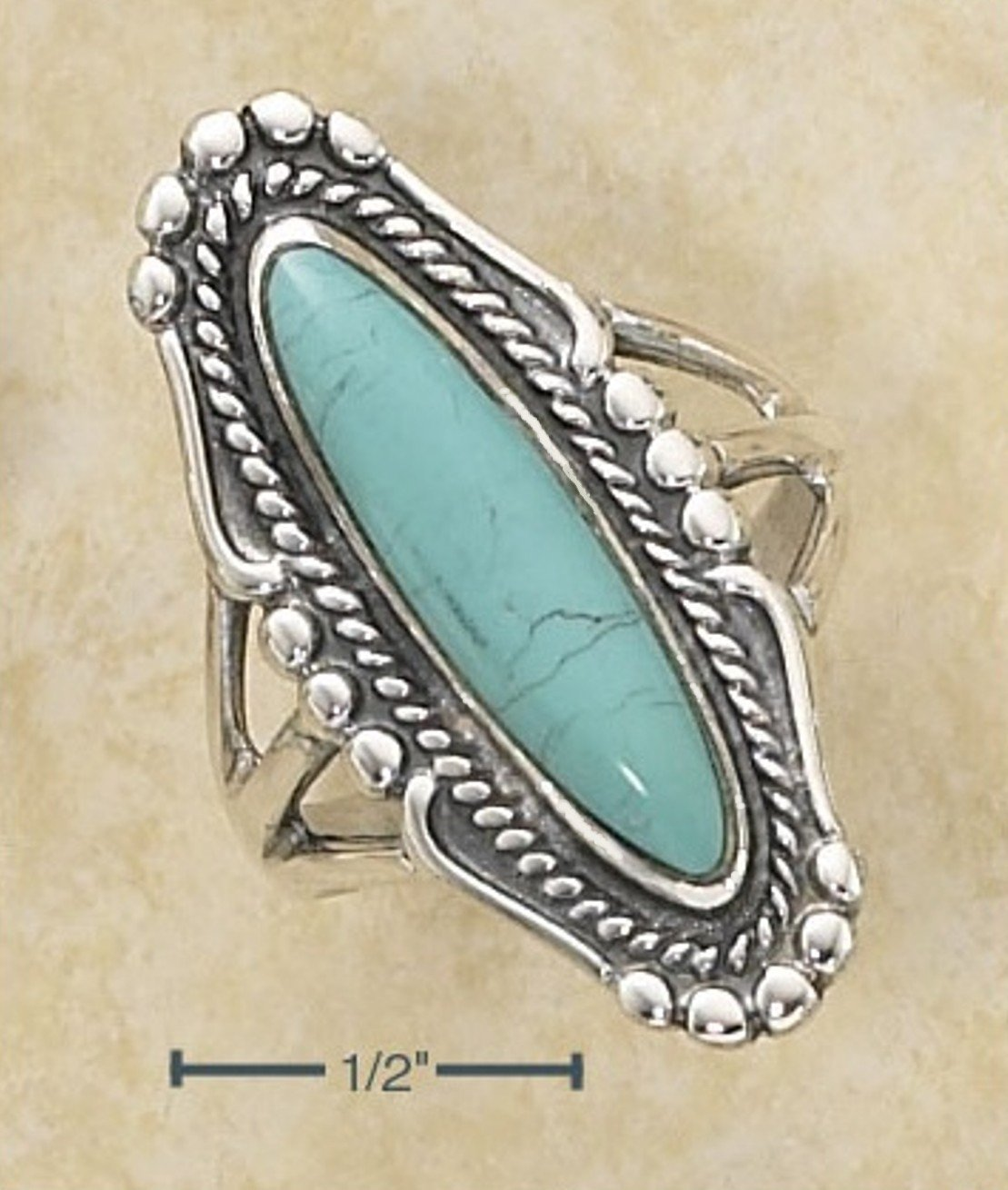 Sterling Silver ring with a large oval Turquoise stone size 6