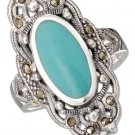 Sterling Silver ring with an oval Turquoise stone, Marcasite stones and filigree size 6