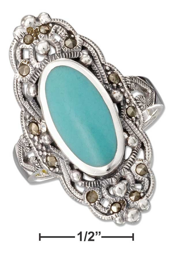 Sterling Silver ring with an oval Turquoise stone, Marcasite stones and filigree size 10