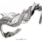 Amazing Sterling Silver Dolphins in Surf Cuff Adjustable Bracelet