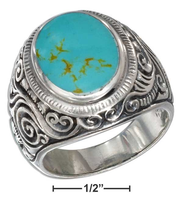 Sterling Silver Mens Turquoise ring size 13