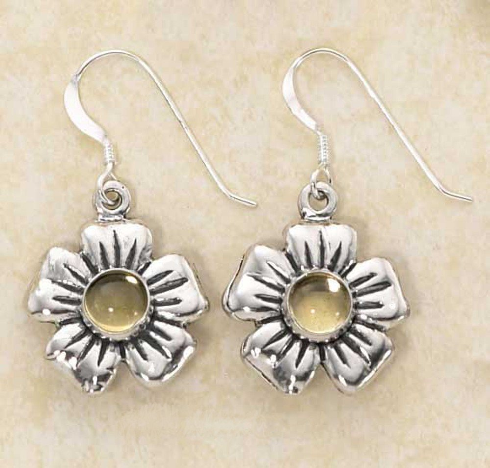 Cute Sterling Silver Yellow Citrine Flower Earrings