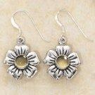 Cute Sterling Silver Yellow Citrine Flower Earrings