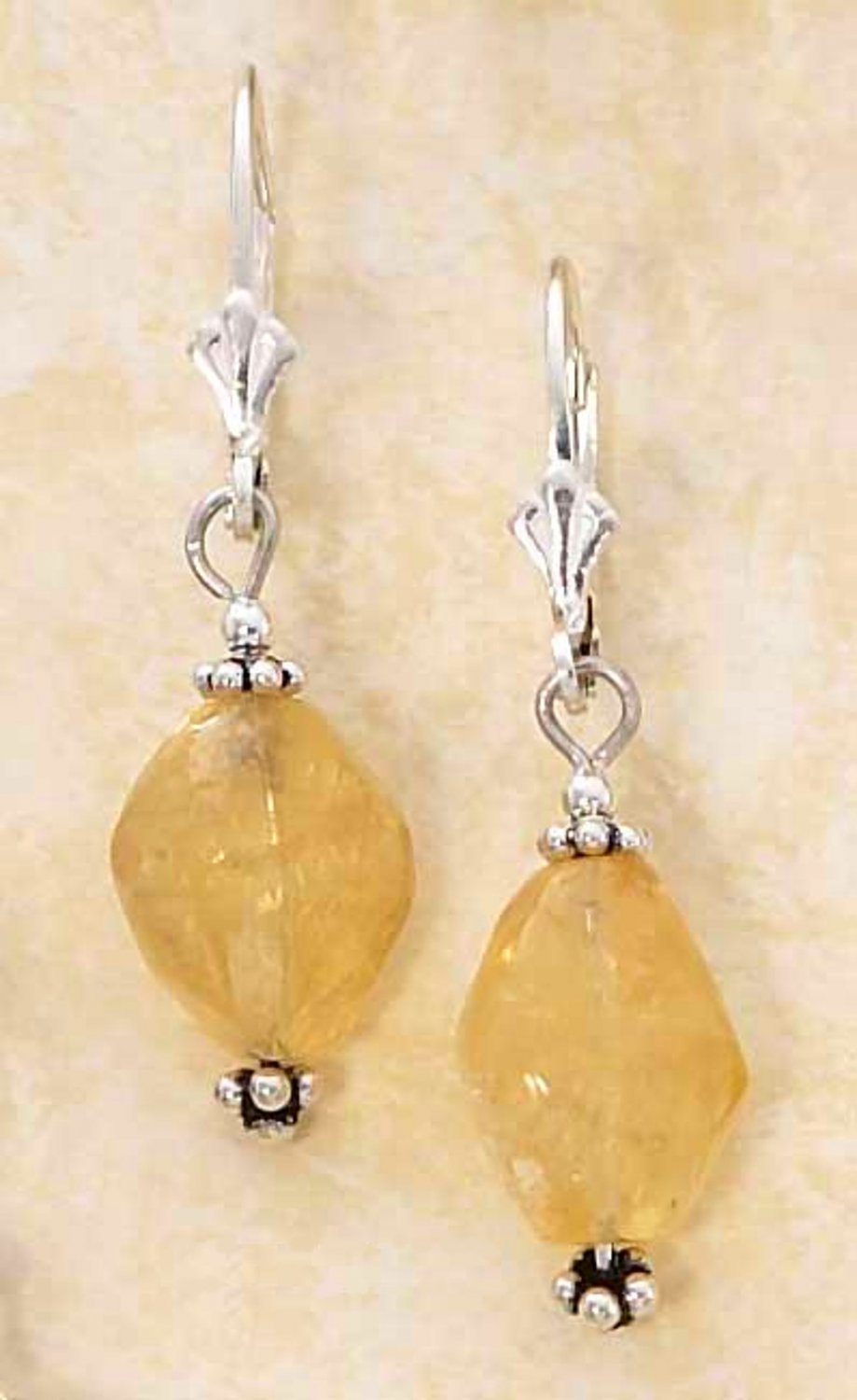 Sterling Silver Polished Yellow Citrine Stone Nugget Earrings