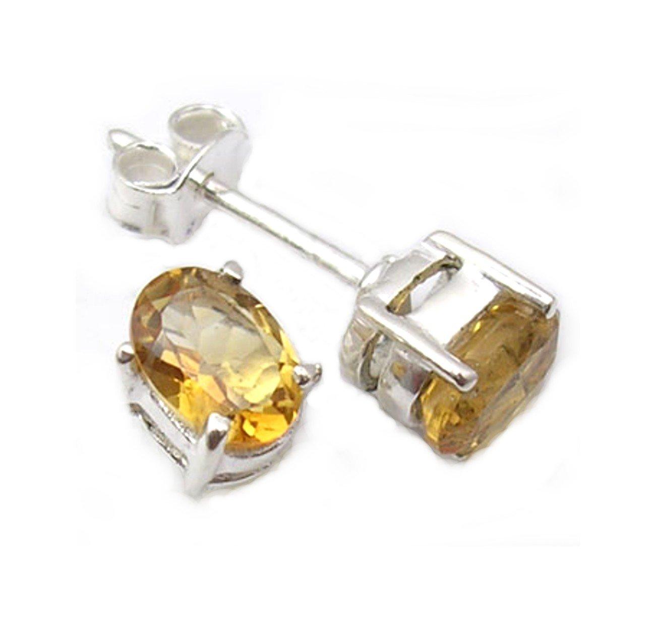 Citrine gemstone Sterling Silver post earrings