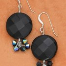Glamourous Sterling Silver, Black Onyx and Crystal Earrings
