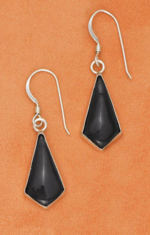 Sterling Silver Black Onyx Kite Shape Dangle Earrings