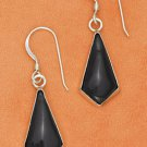 Sterling Silver Black Onyx Kite Shape Dangle Earrings