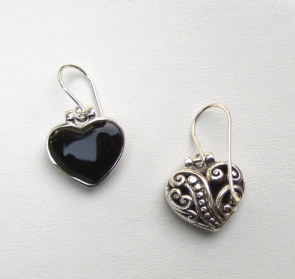 Sterling Silver and Black Onyx Heart shape Dangle Earrings