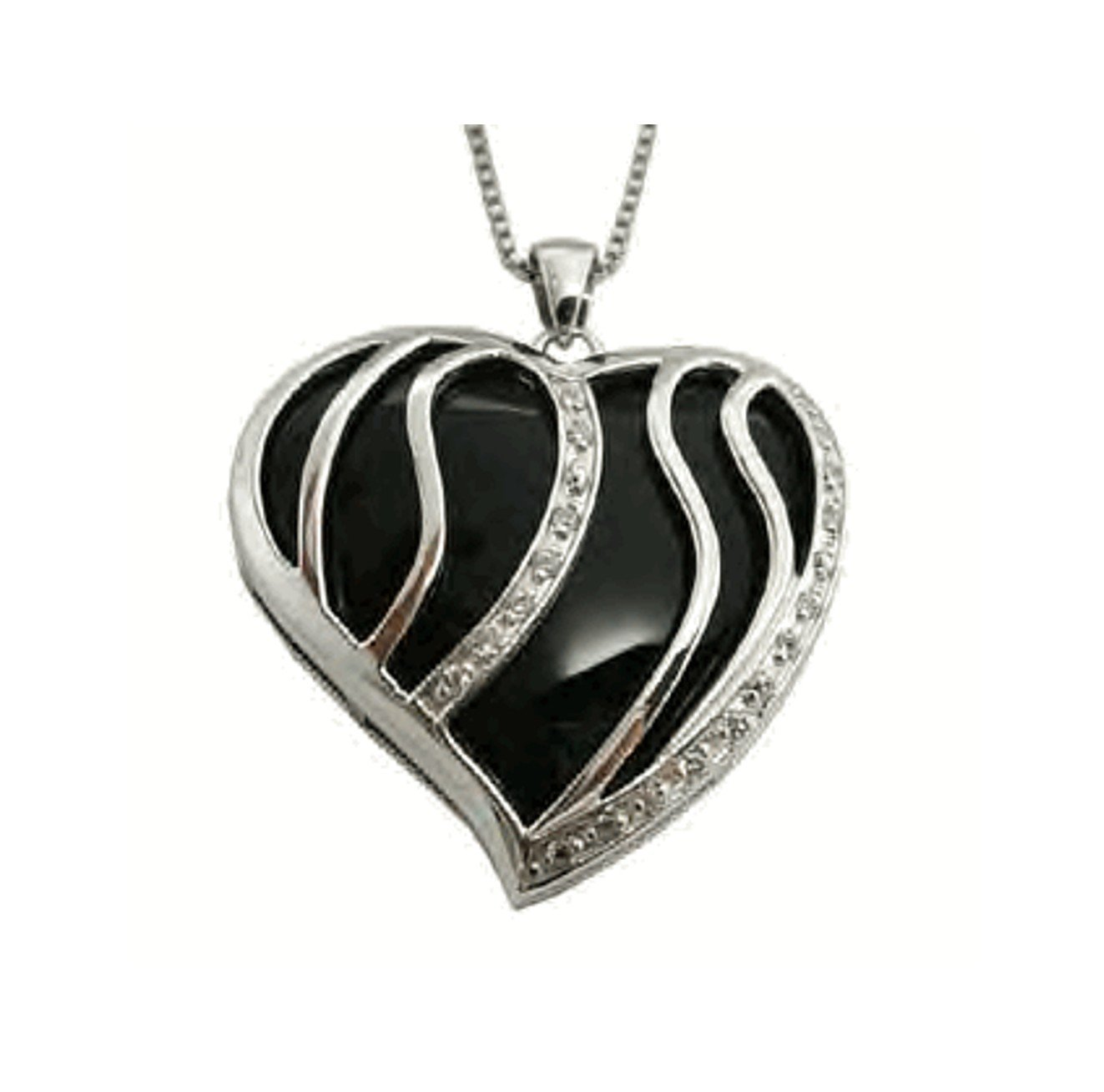 Large Sterling Silver Black Onyx and Cubic Zirconia Heart Pendant