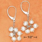 Pretty Sterling Silver Fresh Water White Pearl Cluster Earrings