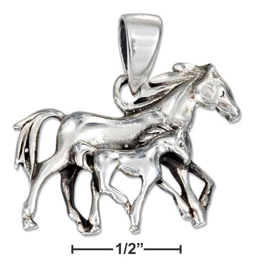 Cute Sterling Silver Mother and Foal Horses