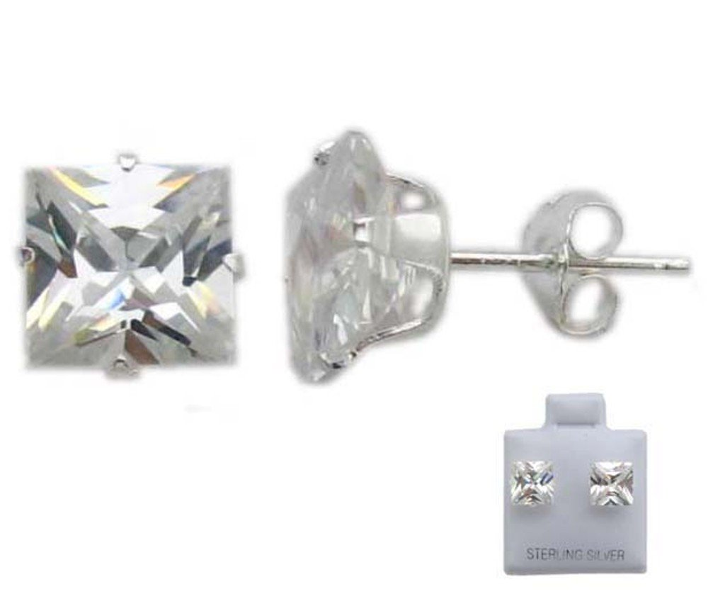 Pretty Sterling Silver Clear CZ Cubic Zirconia Earrings
