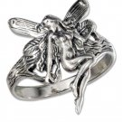 Cute Sterling Silver Ring Featuring a Fairy size 7 1/2