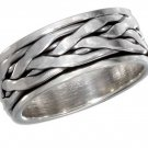 Sterling Silver Spinner Ring with a braided design in Size 11