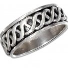 Sterling Silver Spinner Ring with a Celtic weave design in Size 8