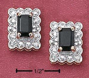 Exquisite Gold Vermeil Emerald cut Genuine Sapphire Post Earrings