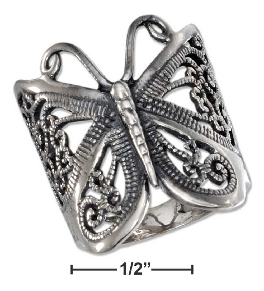 Pretty Sterling Silver Large Butterfly Filigree Ring Size 9