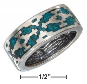 Size 12 Sterling Silver Turquoise Aztec Unisex band ring