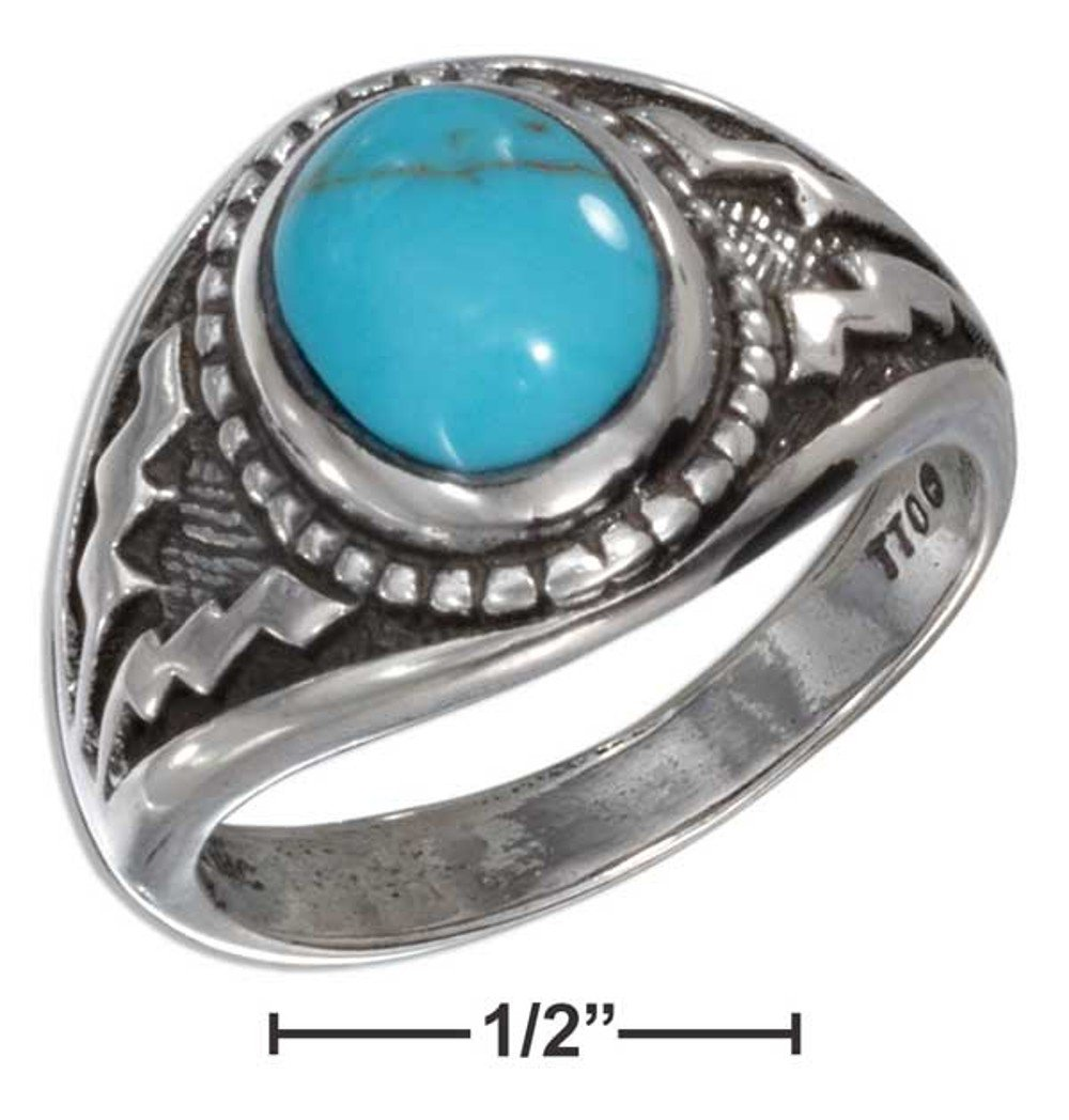 sterling silver mens turquoise aztec design ring size 11