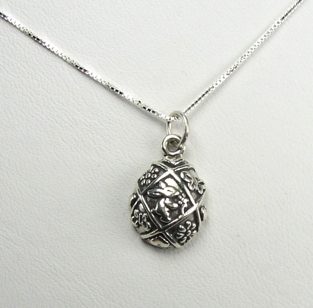 "Sterling Silver Easter Egg charm and 18"" chain"