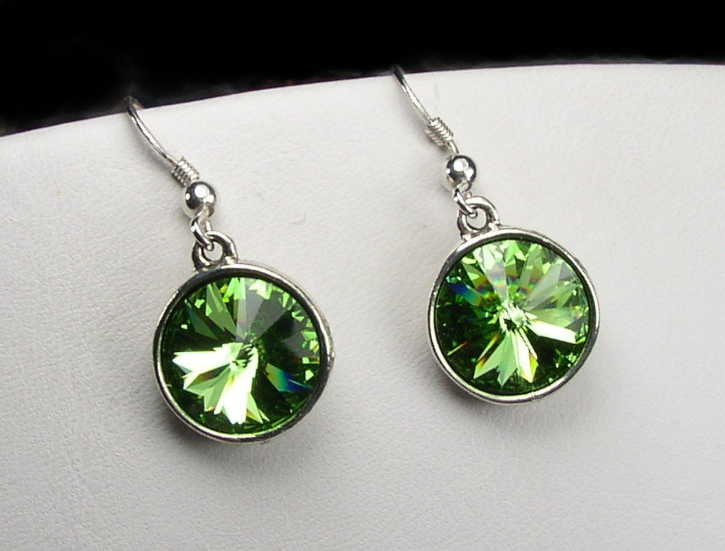 Sparkling Swarovski Peridot crystal earrings - the August birthstone