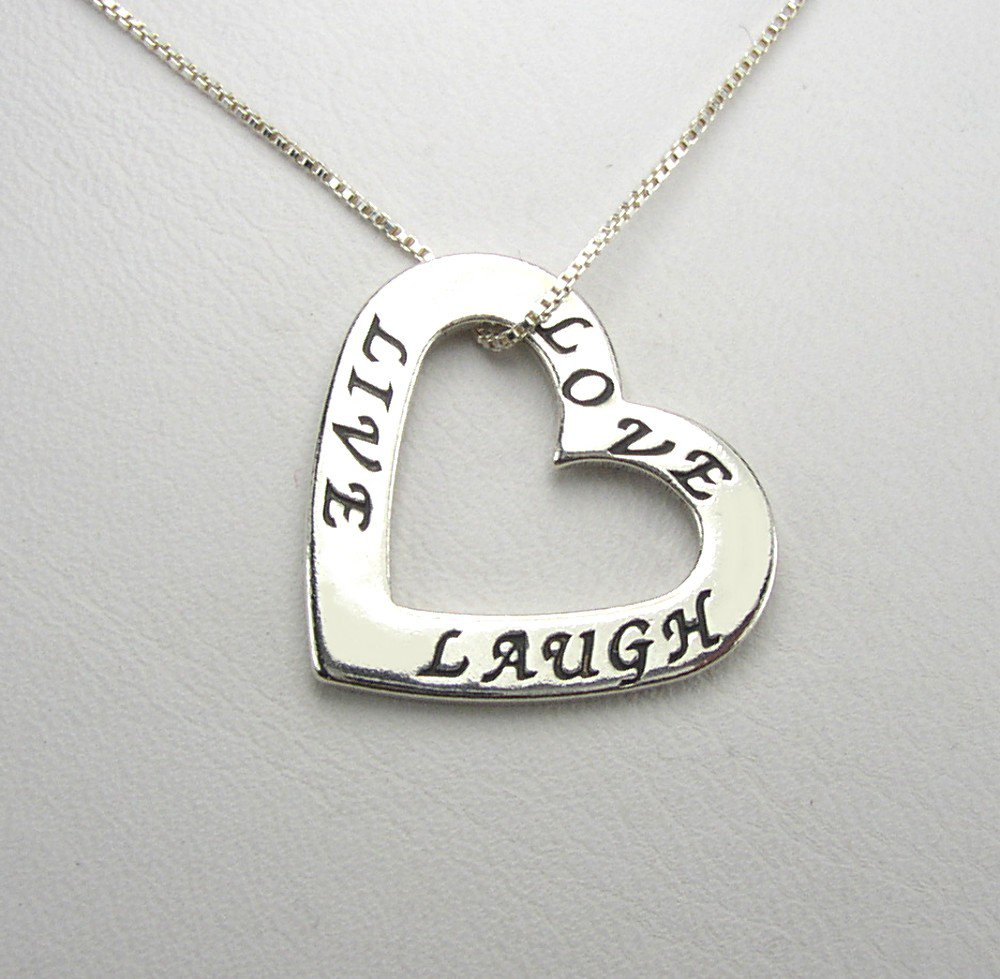 Live, Love, Laugh Sterling Silver Floating Heart Charm and chain necklace