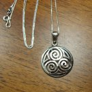 Sterling Silver Triple Spiral Triskele Celtic Pendant and Chain Necklace