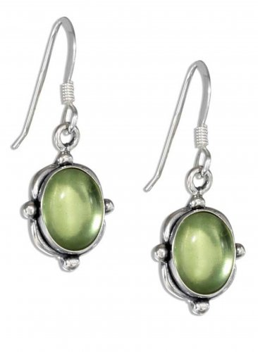 Pretty Sterling Silver and Genuine Peridot Stone Earrings