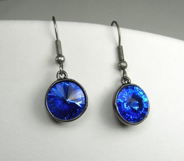 Sparkling Swarovski Sapphire Blue crystal earrings on gun metal gray settings
