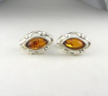 Sterling Silver Honey Brown Genuine Amber Earrings