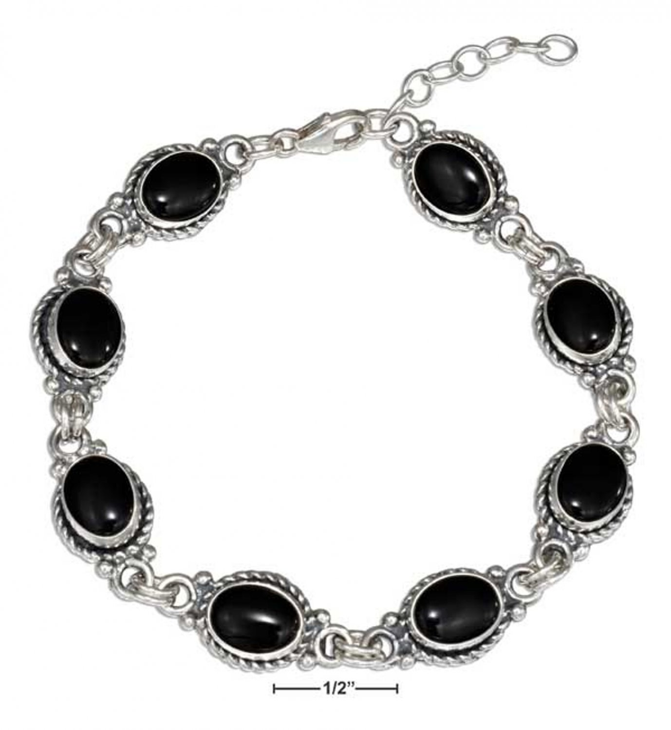 Sterling Silver 7 inch Southwest style Bracelet with Black Onyx Stones