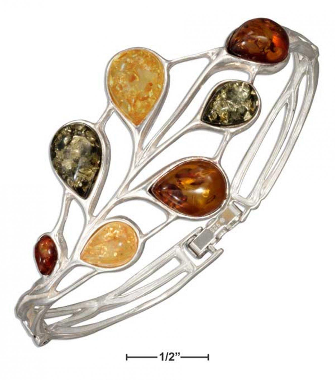 Sterling Silver Multicolor Amber Teardrops on hinged bracelet