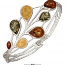 Sterling Silver Multicolor Amber Teardrops on hinged bracelet