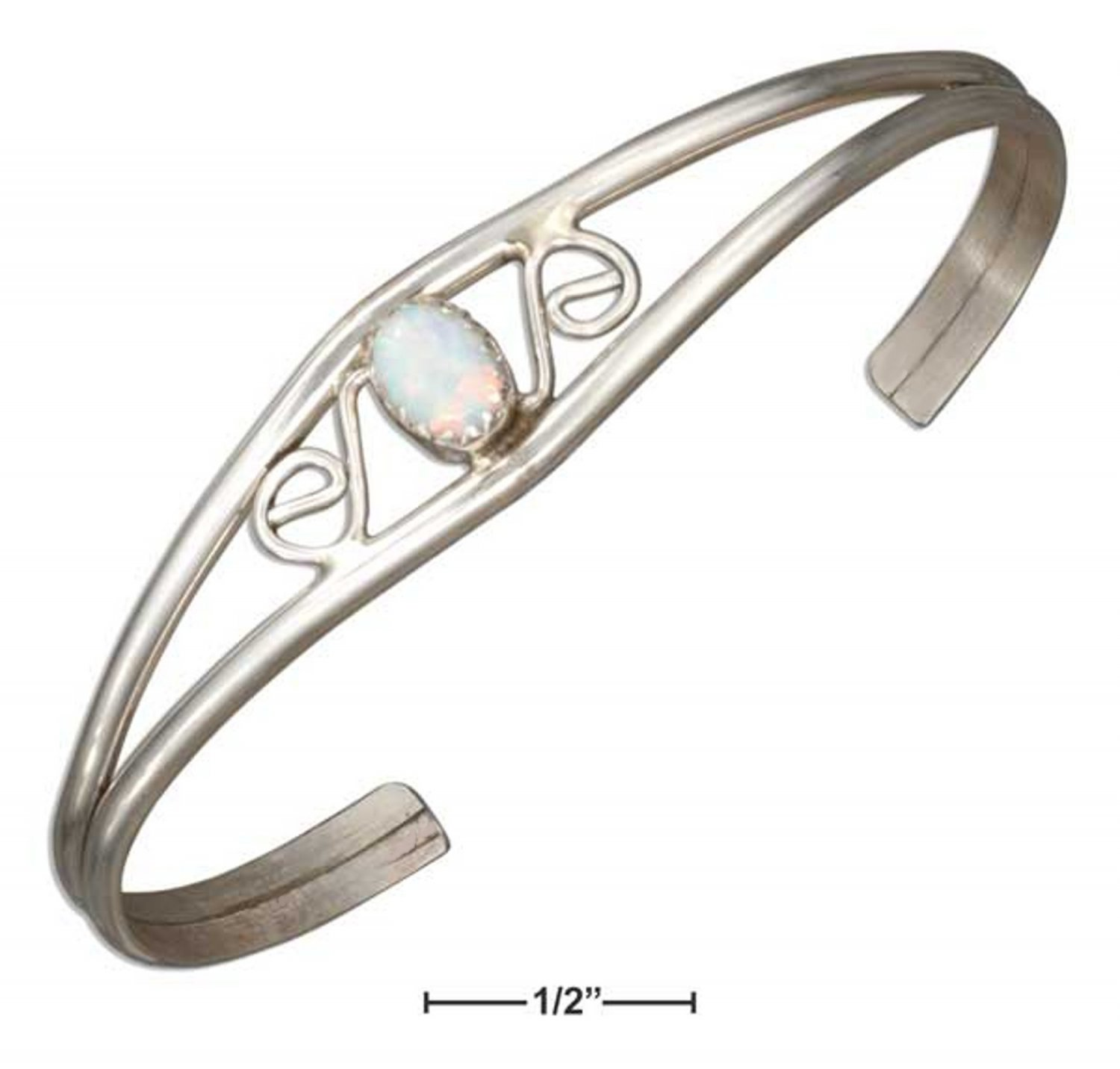 Sterling silver scrolled cuff bracelet with lab created white opals