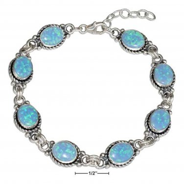 Sterling silver 7-8 inch bracelet with lab created blue opals