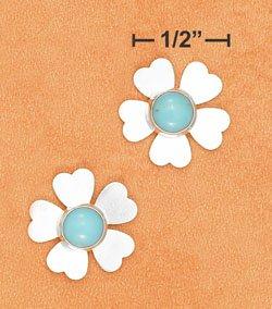 Cute sterling silver Turquoise Flower post earrings